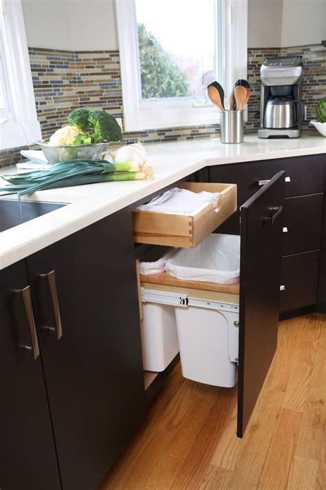 kitchen trash can ideas kitchen design idea hide pull out trash bins in your cabinetry contemporist