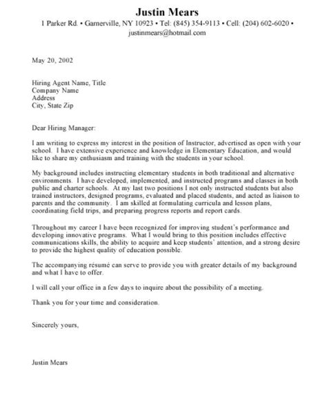 Teaching Cover Letter Writing Sle Cover Letter How To Write A Cover Letter Education