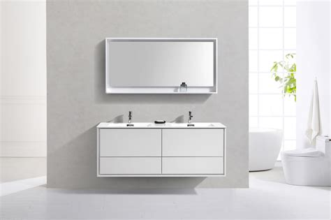 gw bathrooms de lusso 60 quot double sink high glossy white wall mount vanity