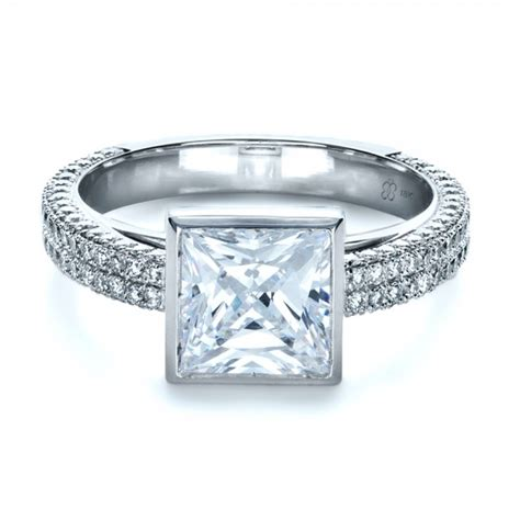 custom bezel set and pave engagement ring 1232