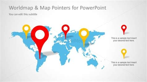 powerpoint design location simple world map slide design with map illustration and