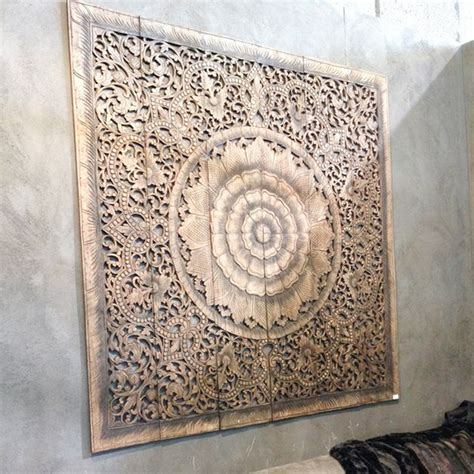 buy mandala carved wood wall panel grey headboard