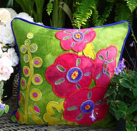 hurray for hollyhocks wool applique throw pillow woolylady