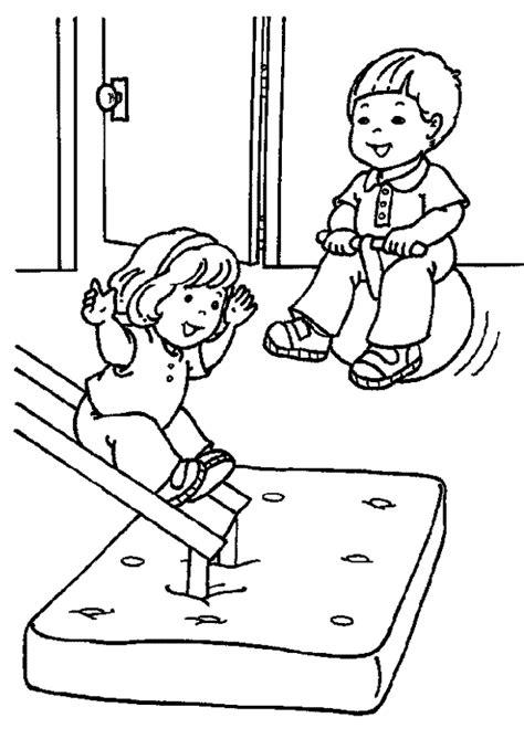 Coloriage la Gymnastique des Enfants à l'Ecole