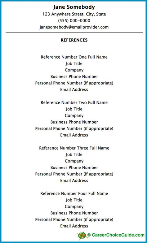 resume reference sle resume reference page setup