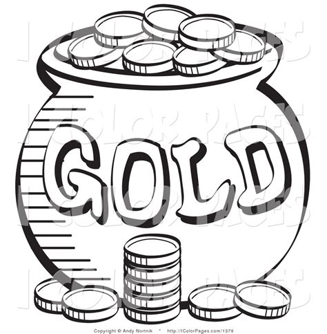 Gold Coloring Pages vector coloring page of a stack of coins near a pot of