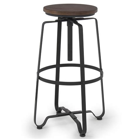 distressed wood swivel bar stools industrial steel design adjustable height swivel bar stool