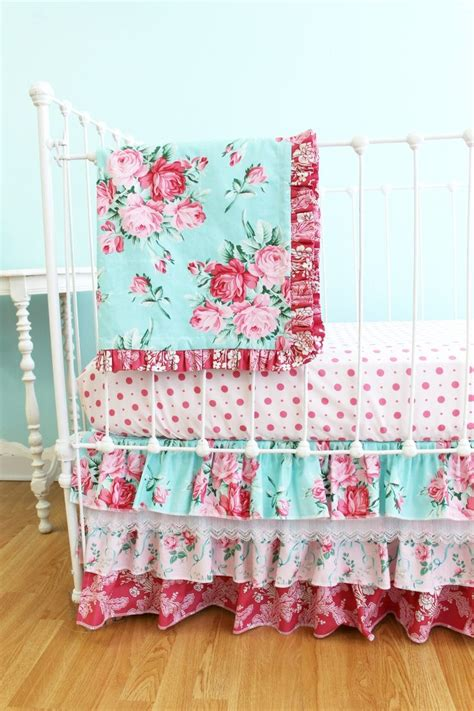 bumperless shabby chic roses crib bedding set