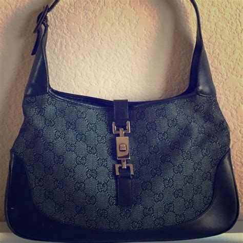 gucci bags jackie  black gg denim monogram hobo bag