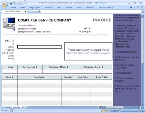 computer service receipt template computer service invoice template