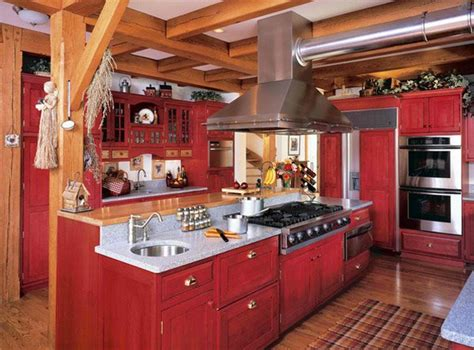 rustic red kitchen cabinets 15 stunning red kitchen ideas home design lover