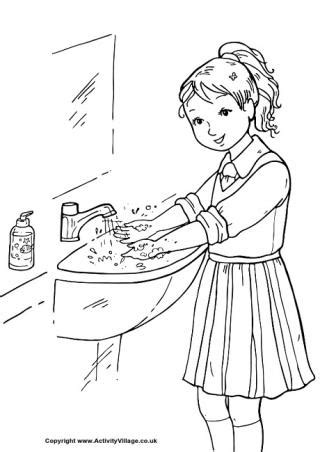coloring page of washing hands school colouring pages