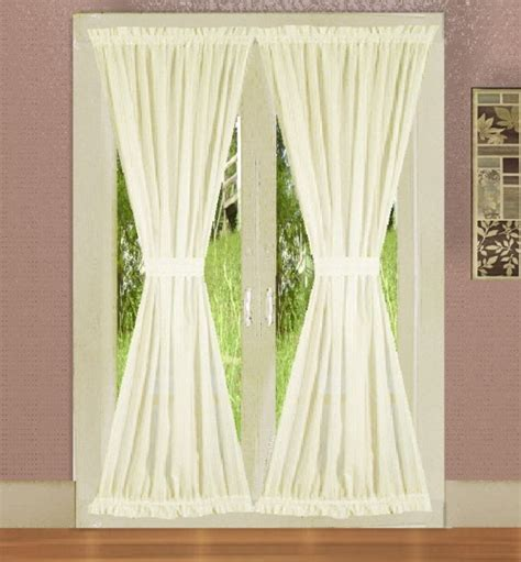 Soft White French Door Curtains