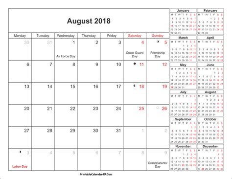 August Calendar 2018 August 2018 Calendar Printable With Holidays Pdf And Jpg