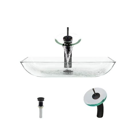 mr direct sinks and faucets mr direct glass vessel in crystal with waterfall