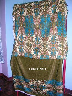 design dress batik sarawak blue pink kain batik sarawak sepasang