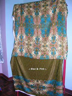 design baju corak batik sarawak blue pink kain batik sarawak sepasang