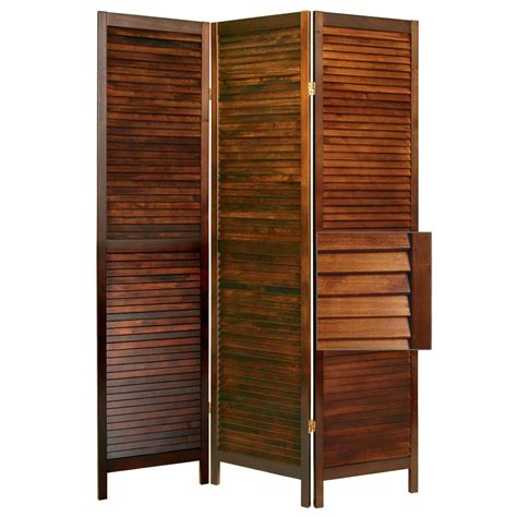 wood divider three panels fold wall divider with shutter style made of