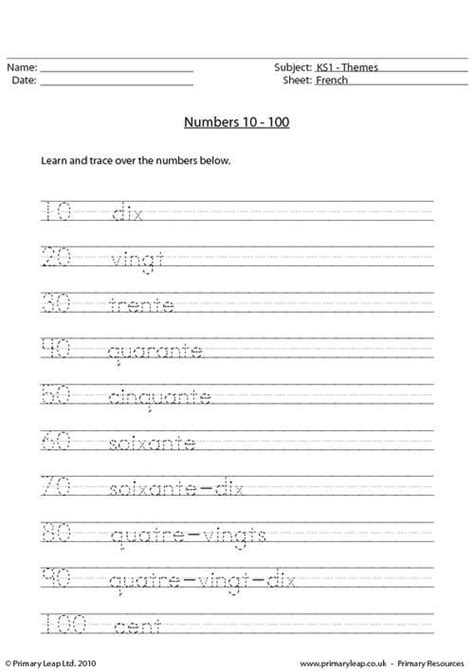 primaryleapcouk french numbers   worksheet