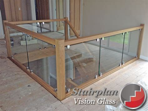 Glass Landing Banister glass staircase balustrade oak handrails toughened glass