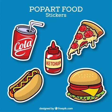 Pop Stickers Food food stickers with pop style vector free
