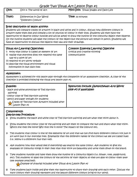 curriculum unit plan template visual arts lesson plan template pinteres