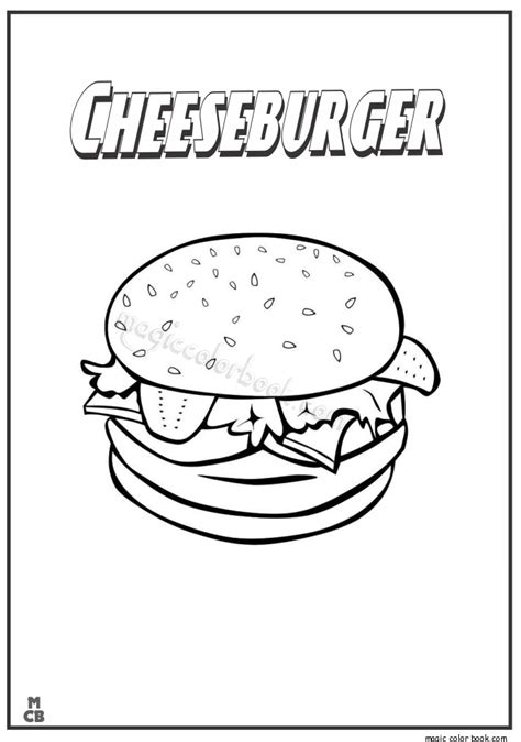 free coloring pages of cheese burger