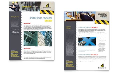 industrial commercial construction datasheet template word publisher