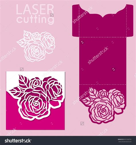 flower envelope template vector die laser cut envelope template with flower