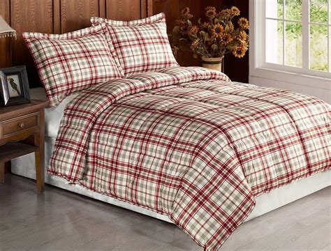 home design bedding down alternative 3pcs beige red plaid flannel feel down alternative