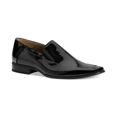 calvin klein shoes calvin klein brad patent moc toe slip on shoes in black