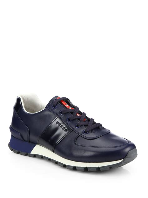 prada sneakers prada calfskin running sneakers in blue for lyst
