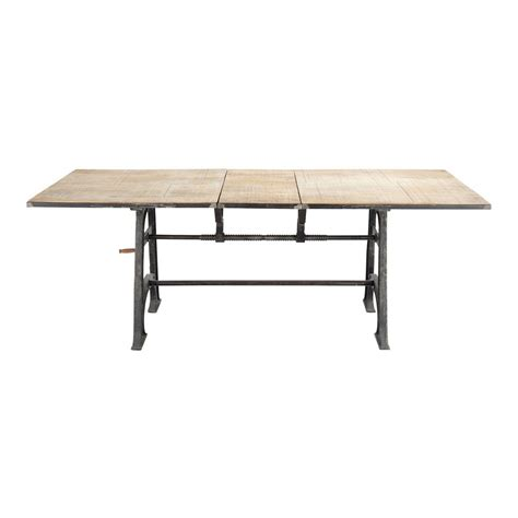 Extending Wood Dining Table Solid Mango Wood And Metal Extending Dining Table W 180cm Manivelle Maisons Du Monde
