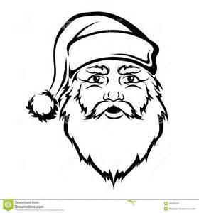 Santa Claus Head Vector Black Contour Christmas Illustration Stock  sketch template