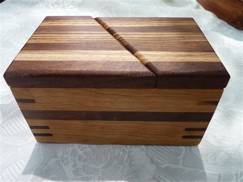 Handcrafted Wooden Box - handcrafted wooden jewelry keepsake box in cherry with swivel