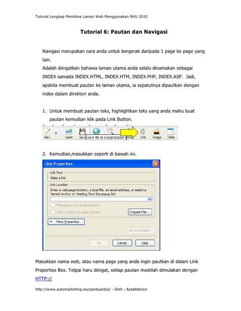 tutorial lengkap web site tutorial lengkap membina lawan web menggunakan nvu