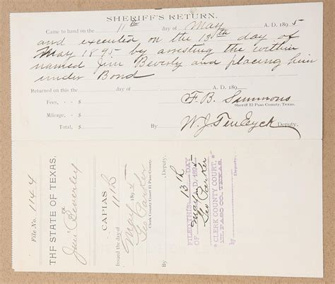 El Paso County Ticket Warrant Search Original State Of Arrest Warrant From El Paso County Dated May 13 1895 For