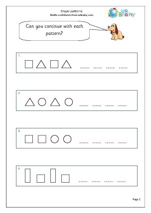 number patterns worksheet for year 1 shape continue the pattern