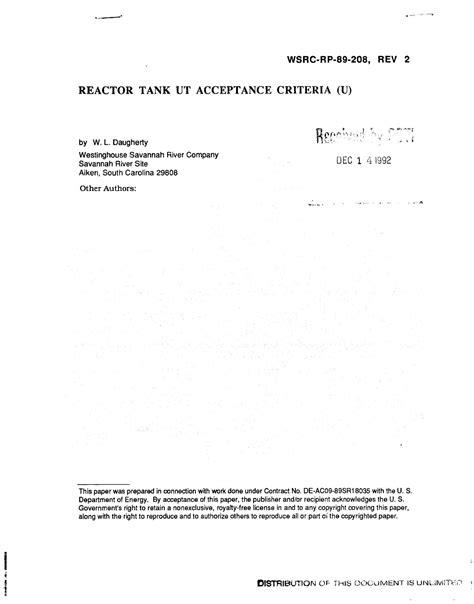 Reactor tank UT acceptance criteria. Revision 2 - UNT