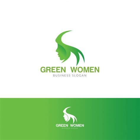 green hijab women logo vector premium
