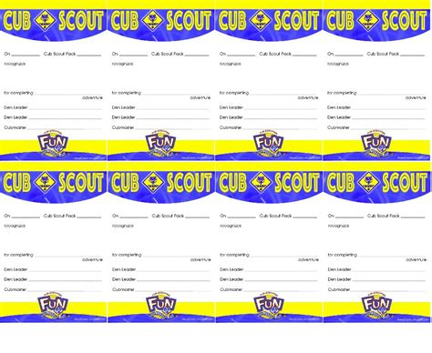 cub scout advancement card templates akela s council cub scout leader cub scout