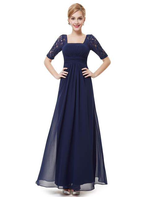 Navy Fashion fashion navy blue lace square neckline prom evening dress