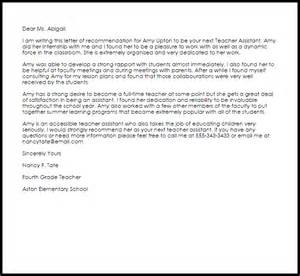cover letter for classroom assistant assistant recommendation letter livecareer