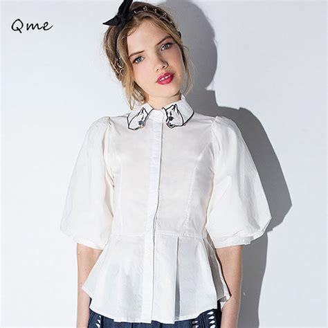 White Blouse Pan Collar by White Blouse Pan Collar Lace Henley Blouse