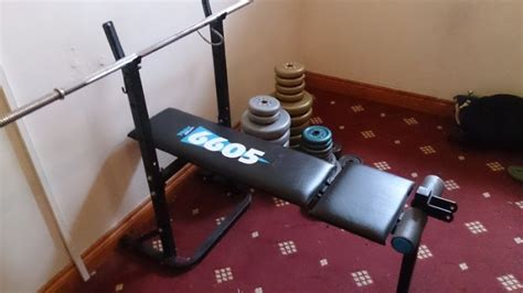 york 6605 bench folding york 6605 bench with weights 120kg for sale in