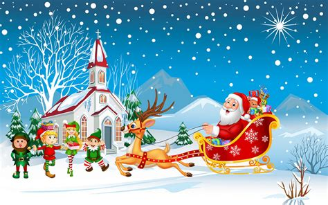 happy christmas santa claus   sleigh  christmas gifts merry kids hd desktop