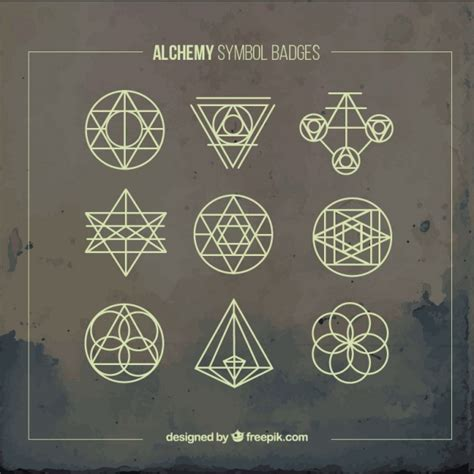 yellow alchemy symbols badges vector free download