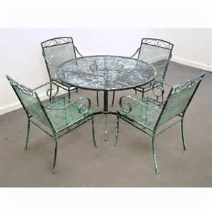 Vintage mid century modern wrought iron patio dining set table chairs