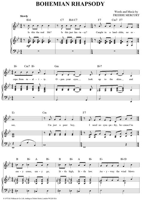 tutorial guitar bohemian rhapsody bohemian rhapsody sheet music music for piano and more