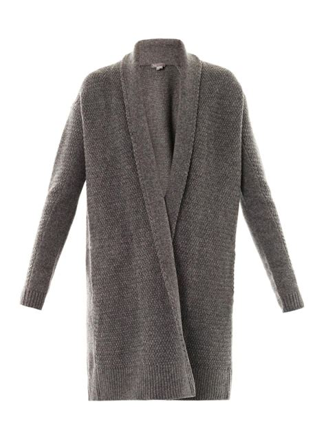 knit draped cardigan vince textured knit draped cardigan in gray lyst